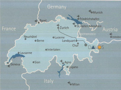 SwissSkiVacations : Davos Location & Map