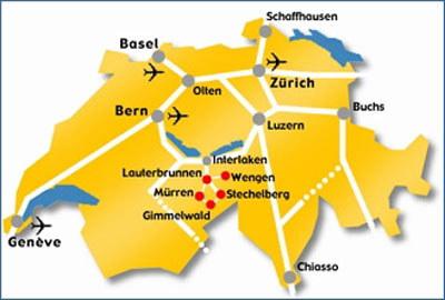 SwissSkiVacations : Muerren Location & Map