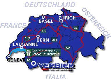 Swiss Map with the location of Verbier