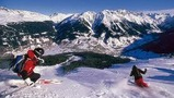 Skiing in the wintersports paradise of Davos-Klosters, Switzerland