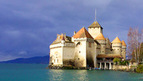 Switzerland's most visited historic monument - the famous Chillon Castle near Montreux