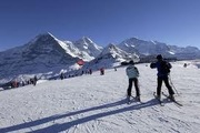 Skiing in the Wengen - Jungfrau Region; well groomed runs at the foot of the Eiger, Moench and Jungfrau mountains.