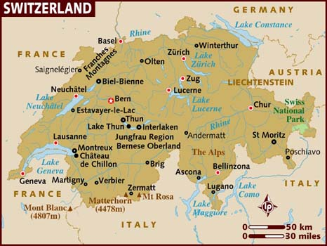 SwissSkiVacations : Swiss Map